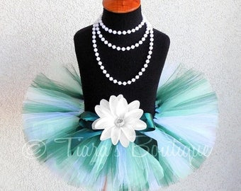 "SUMMER SALE 20% OFF St. Patrick's Day Tutu - Green White Tutu - Wintergreen - Custom Sewn 8"" Tutu - sizes Newborn to 5T - Kingdom of the Swe"