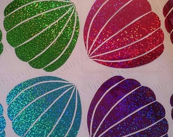 SUMMER SALE 20% OFF Diy Little Mermaid Shirt, Ariel Seashell Bra Top, 1 set of Sea Shells, Lavender Purple Glitter Vinyl Iron-On Appliques f
