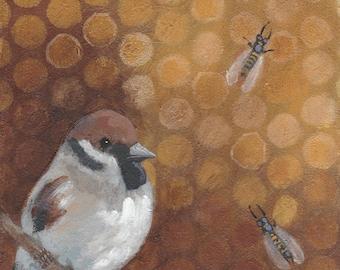 sweet chickadee and bees original painting