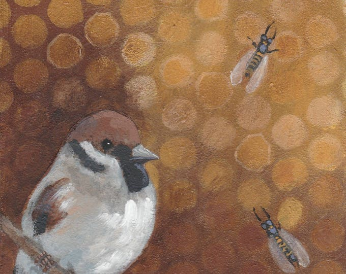 sweet chickadee and bees original painting