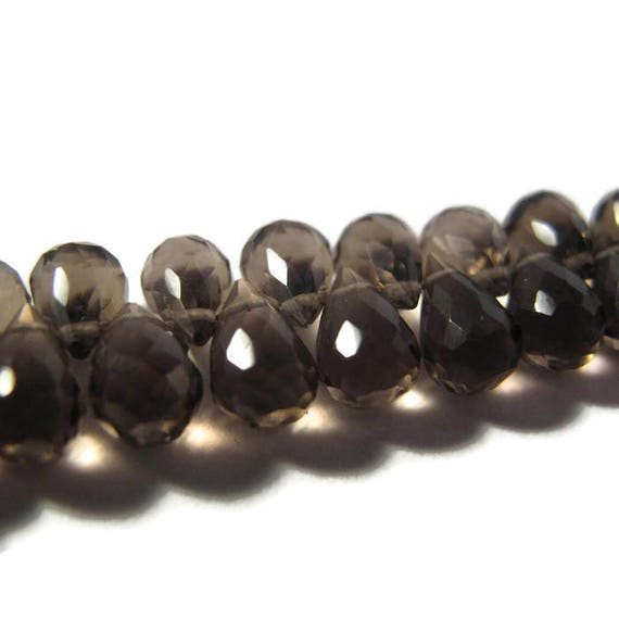 Smoky Quartz Beads, Gemstone Briolettes, 4 Inch Strand of Natural Gemstone Briolettes for Making Jewelry, 7mm x 5mm - 8.5mm x 5.5mm (B-Sq6g)