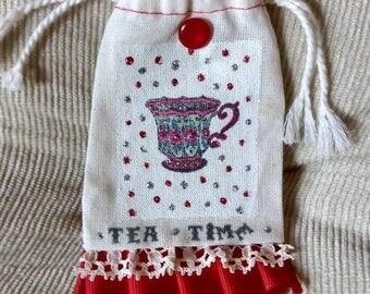 Muslin petite bag, tea time theme, small drawstring jewelry bag, treat bag
