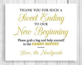 Sweet Ending to Our New Beginning 8x10 Printable Black and Gold Wedding Candy Buffet Sign - Instant Digital Download