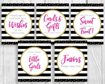 Black White Stripes 8x10 Printable Girl's Baby Shower Sign Bundle - Hot Pink Gold Glitter - Guest Book, Cards and Gifts, Favors & More