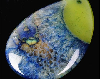 Yellow Blue Druzy Geode Agate Teardrop Pendant Bead 54x37x7mm