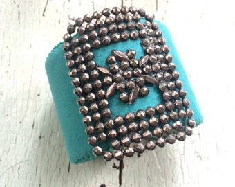 Turquoise Adjustable Cuff with Antique Panel