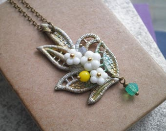 Floral Filigree Leaf Necklace - Vintage Wire Wrapped Czech Glass Flowers Beaded Pendant - White Flower Collage Necklace Jewelry Gift For Her