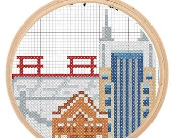 Cross Stitch Pattern - Downtown Nashville Bat Building Grand Old Opry and Titans Stadium by Jlmould