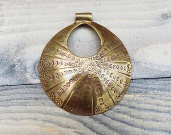 Saki Bronze Round Donut Pendant with Geometric Patterns ~ 60mm