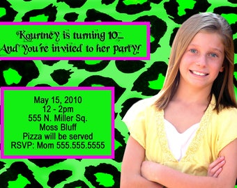 Personalized Photo Birthday Invitations Leopard print Digital Design