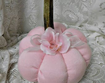 Pink  Knit Fabric Pumpkin, Hand Created, Real Stem, Sheer Fabric Ribbon with Rose and Button Accent, Fall Shabby Chic Decor, ECS