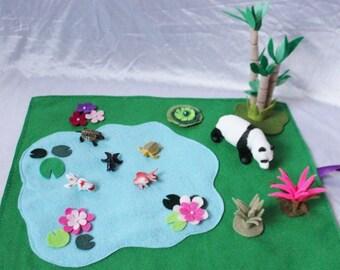 Koi Fish Pond Play Mat - Asian Themed Play Mat - Panda Play Mat - Chinese Play Mat - Travel Play Mat - Roll Up Play Mat - Ready to ship