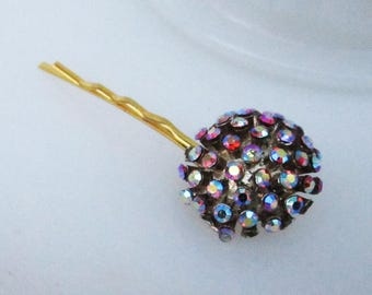 Fuzzy Navel Hairpin - hairpin with vintage rhinestone decoration