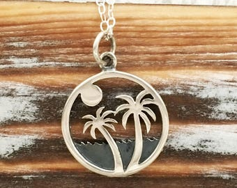 Palm tree necklace, tropical jewelry gift for her, summer, beach jewelry, live in the sunshine, swim in the sea, drink the wild air