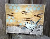 Bird Mixed Media Graffiti Art Painting on Photo Transfer Original Art on Handmade Canvas Home Decor Pop Art Gallery Wind Up Bird