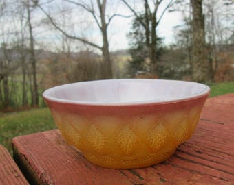 """Small Vintage Fire King Bowl - """"Kimberly"""" Pattern - Cocoa and Brown - 1960s Country Kitchen"""