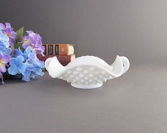 Vintage Milk Glass Hobnail Nappy, Dish With Handles, Double Handled Dish, Candy Dish, Trinket Dish