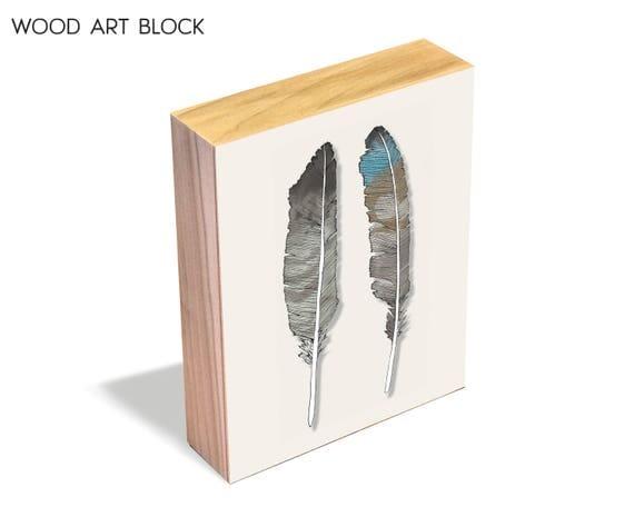 Birds of Prey - wood art block