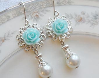 75% Off Price Sale, Aqua Blue Rose, Silver Filigree, Faux Vintage Pearl Bead