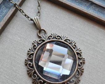 75% Off Sale Smokey Gray Faceted Glass Necklace