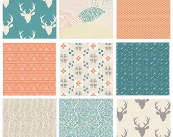 9 FABRIC QUILTING BUNDLE - Hello, Bear - Indian Summer - Art Gallery Fabrics - Bonnie Christine - Quilting Fabric Collection with Deer