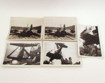 5 Vintage Photographs - Navy Plane Crash  - 1950s - Navy - Military Ephemera - Candid Snapshots - Korea Yodo Island Wonsan