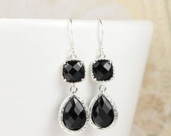 Long Black Silver Teardrop Earrings, Black Silver Earrings, Black Teardrop Earrings, Bridesmaid Jewelry, Bridesmaid Gift