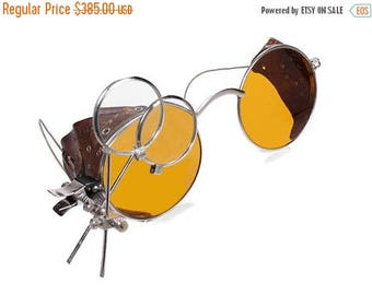 Steampunk Goggles RaRE AMBER TiNT Yellow Antique Aviator Vintage WILLSON Driving Glasses Burning Man Leather Side Shields Mint by edmdesigns