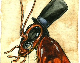 Top Hat Roach  - Original ACEO Painting