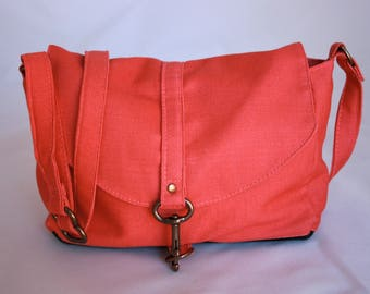 Mini Messenger Crossbody Bag in Coral