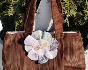Brown Corduroy Purse with Flower Pin