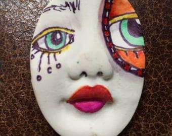 Handmade clay face  goddess  woman doll head  jewelry craft supplies  oval cabochon  mosaics dolls jewelry craft  spirit