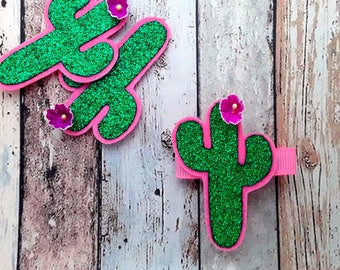 Glitter Cactus hair clip, green glitter cactus barrette, green glitter cactus hair slide, hair clips Singles and Pairs