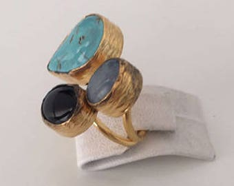 Triple Gold plate Turquoise, Onyx  ring