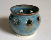 Blue Votive Candle Holder or Luminary with Star Cut-outs - Wheel Thrown Pottery
