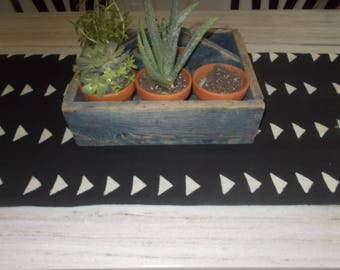 Authentic African Mudcloth table runner black with white arrows