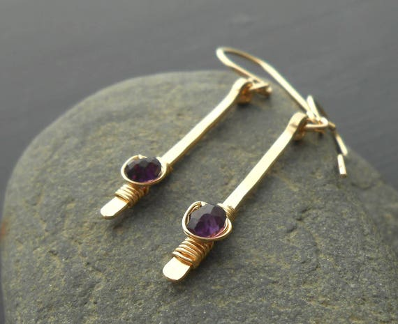 Gold Amethyst Drop Earrings, Gold Filled Gemstone Dangle Earrings