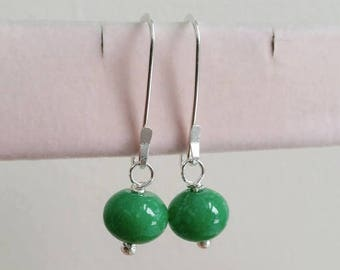 ON-SALE Green Jade Earrings - Gemstone, Gemstone Jewelry, Sterling Silver Earrings - Handmade Jewelry