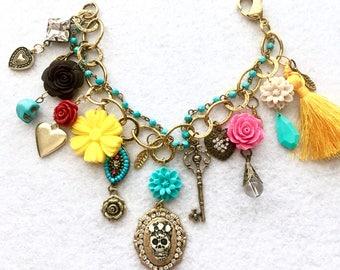 Day of the Dead Skull Queen Boho Sparkle Charm Bracelet