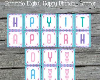 Llamacorn Birthday Banner   Llamacorn Printable Banner   Digital Download   Printable sign   Instant Download   Birthday Llama