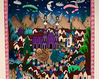 NIGHT, Mexican Folk Art Painting