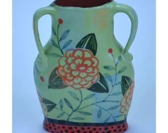 Vase. Green with Flower, Vines, Berries.