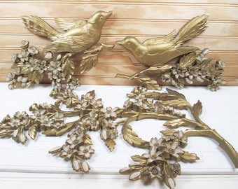Vintage Syroco Birds Dogwood Flowers Branch Wall Plaque Hanging 3 Piece Set Retro Gold 1960s