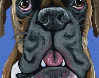 ACEO ATC Boxer Original Gouache Painting Pet Dog Art-Carla Smale