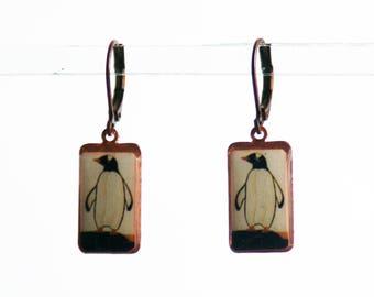 Penguin Earrings, Photo Earrings, Black and White Earrings, Dangle Earrings, Resin Earrings
