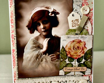 Sweet Roses Collage card,handmade card