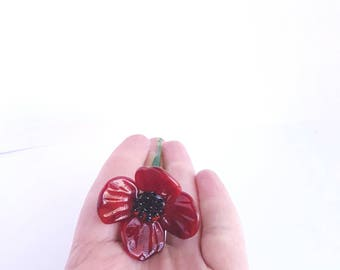 Red Glass Poppy Sculpture