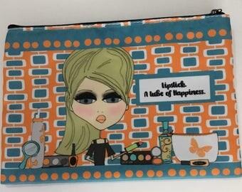 Makeup Bag - 6x9 - Lipstick.  A tube of happiness.