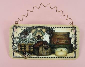 PRIMITIVE ANGEL SIGN Baskets Decor Metal Country Folk Art Homespun Prim Cute Decorative For Wall Wreath Desk Home Office Gift Giving