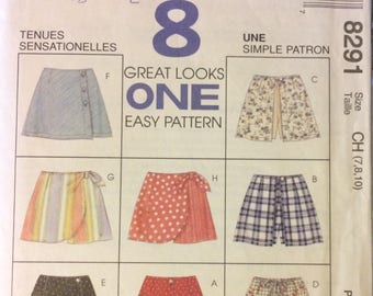 Vintage 90's Sewing Pattern McCall's 8291 Girls' Skorts  Size 7-8-10 Complete